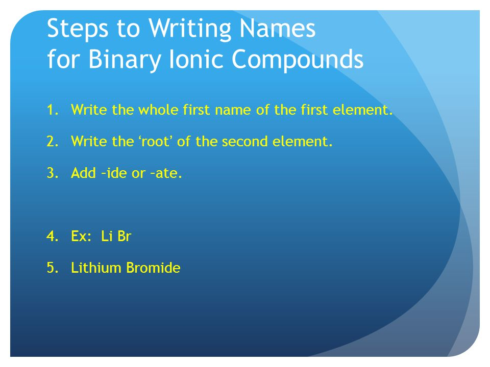 Steps to Writing Names for Binary Ionic Compounds