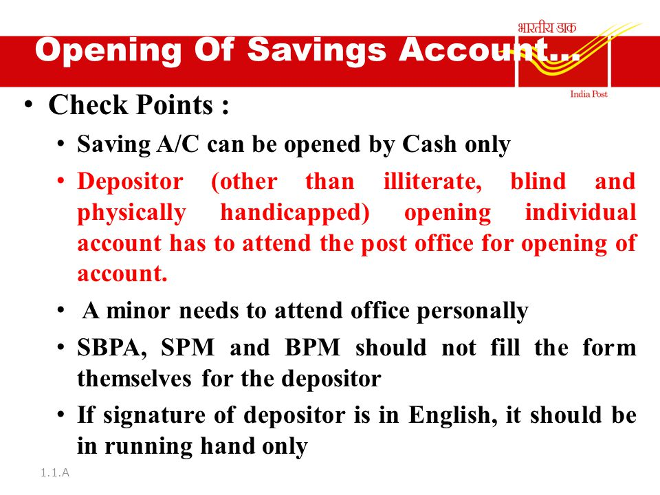 Implementation of the following norms in the Post Offices