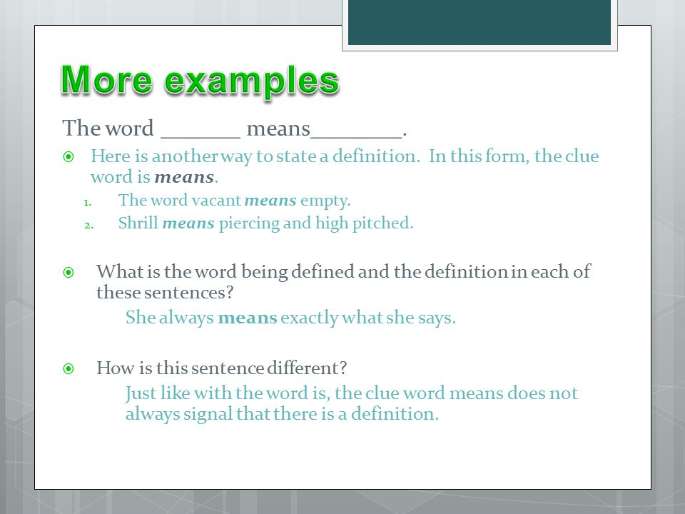 Definitions, Restatements, Examples, Synonyms, and Antonyms