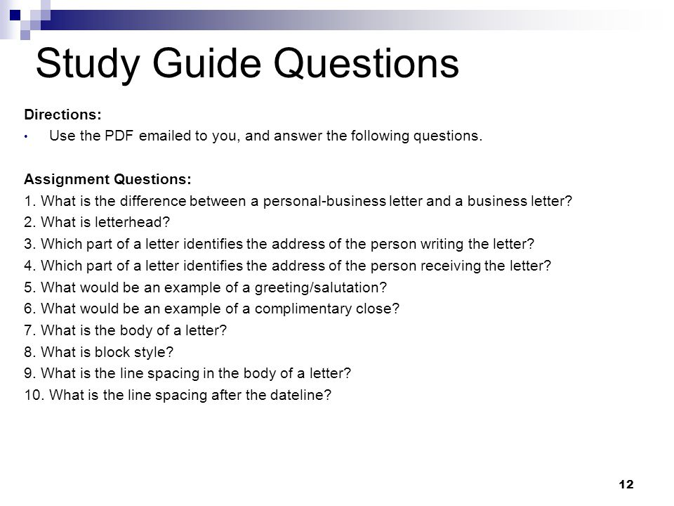 Study Guide Questions Directions: