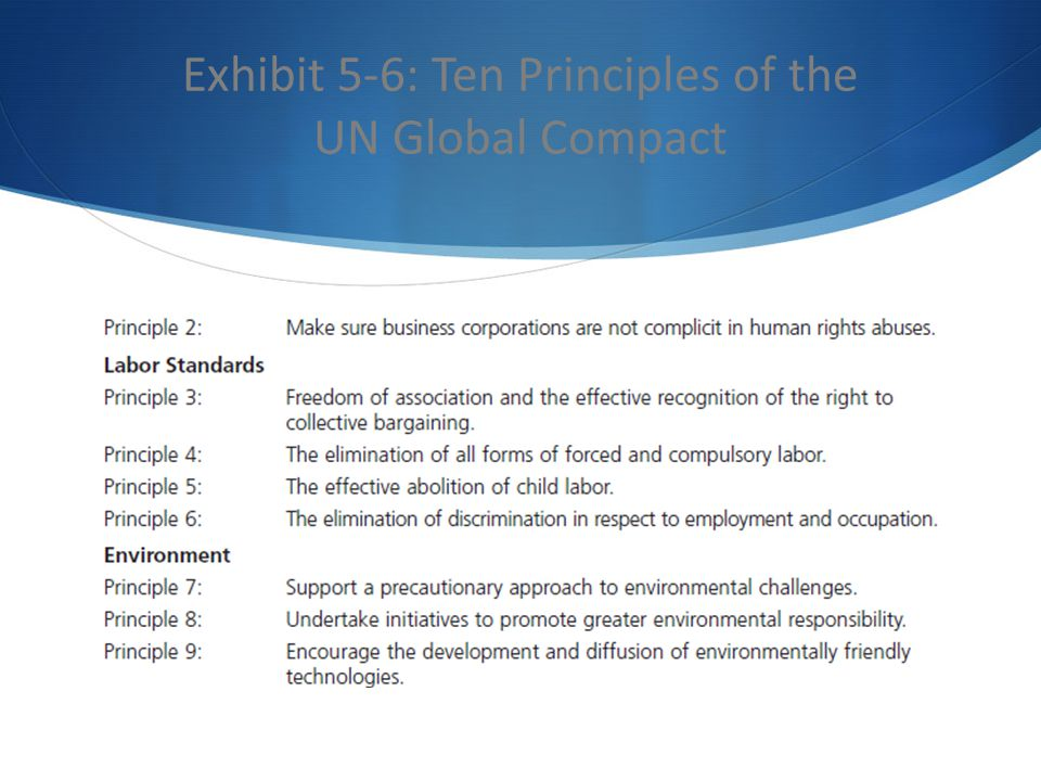 Exhibit 5-6: Ten Principles of the UN Global Compact