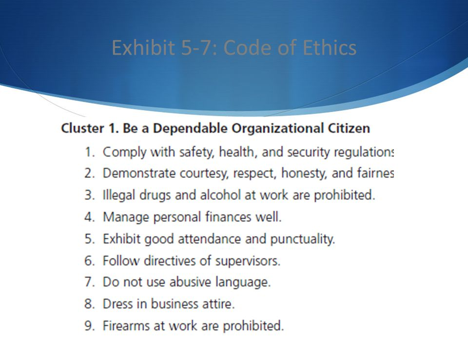 Exhibit 5-7: Code of Ethics