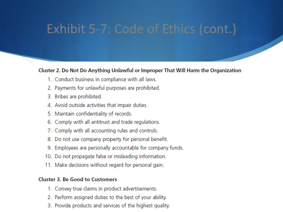 Exhibit 5-7: Code of Ethics (cont.)