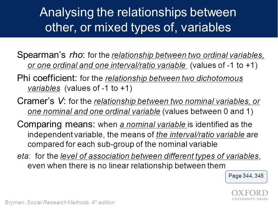 Analysing the relationships between other, or mixed types of, variables