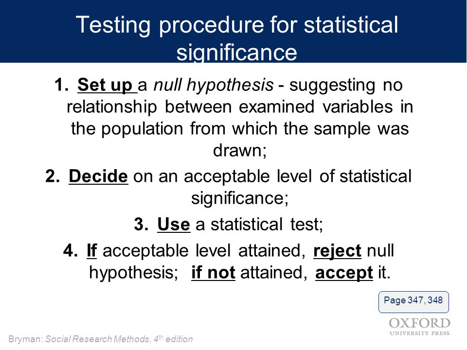 Testing procedure for statistical significance