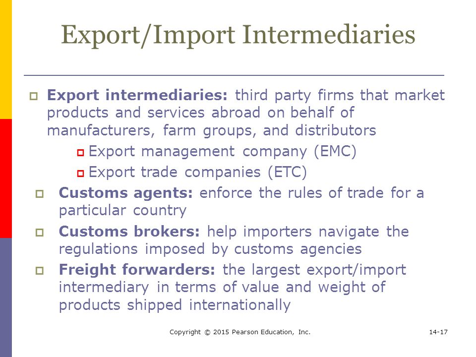 Export/Import Intermediaries
