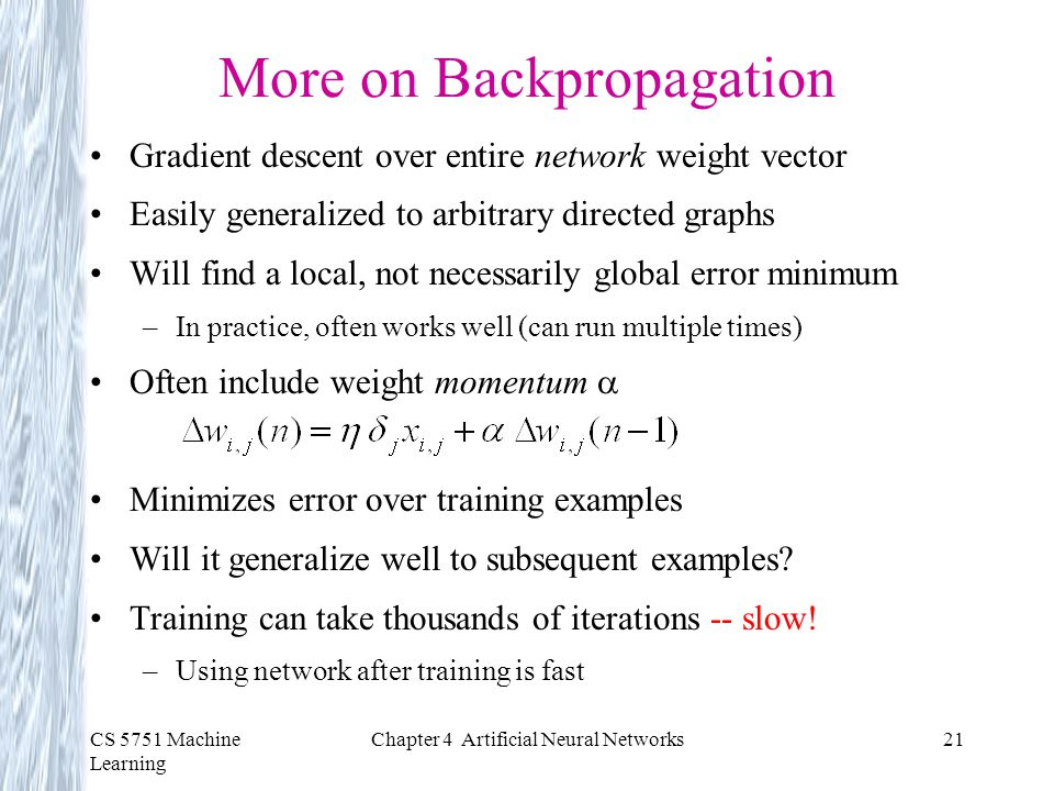 More on Backpropagation