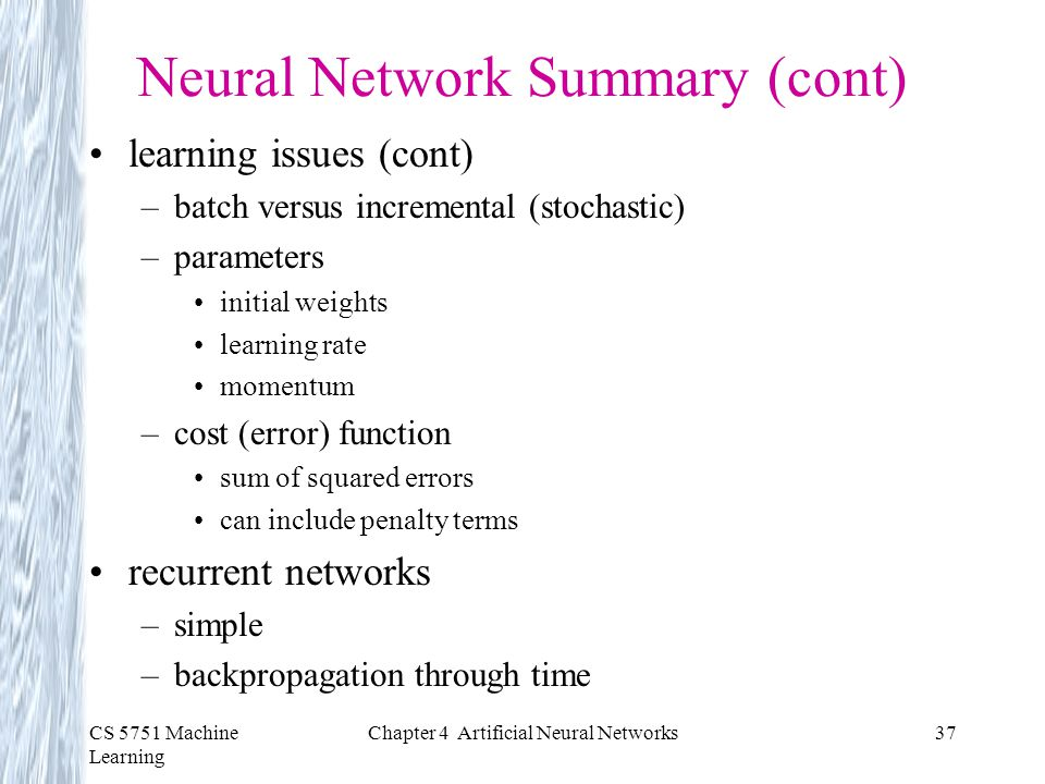 Neural Network Summary (cont)