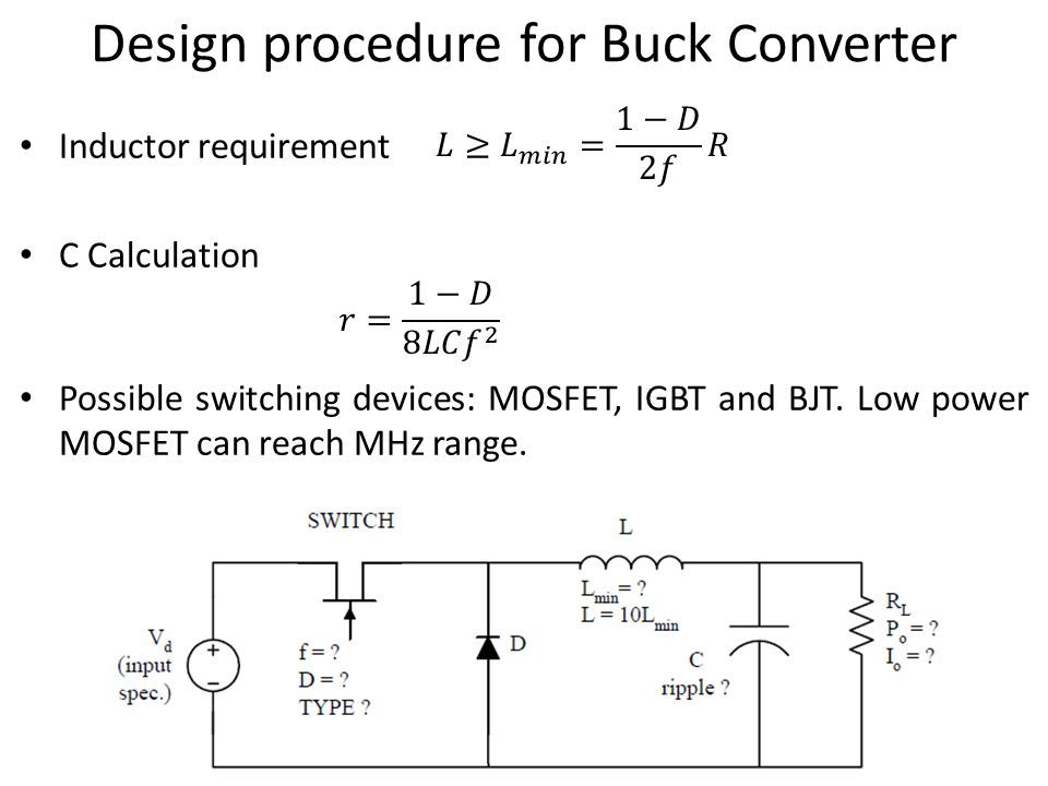 Circuit analysis design buck converter to meet output ripple.