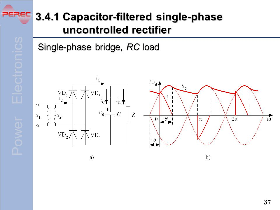 3.4.1 Capacitor-filtered single-phase uncontrolled rectifier