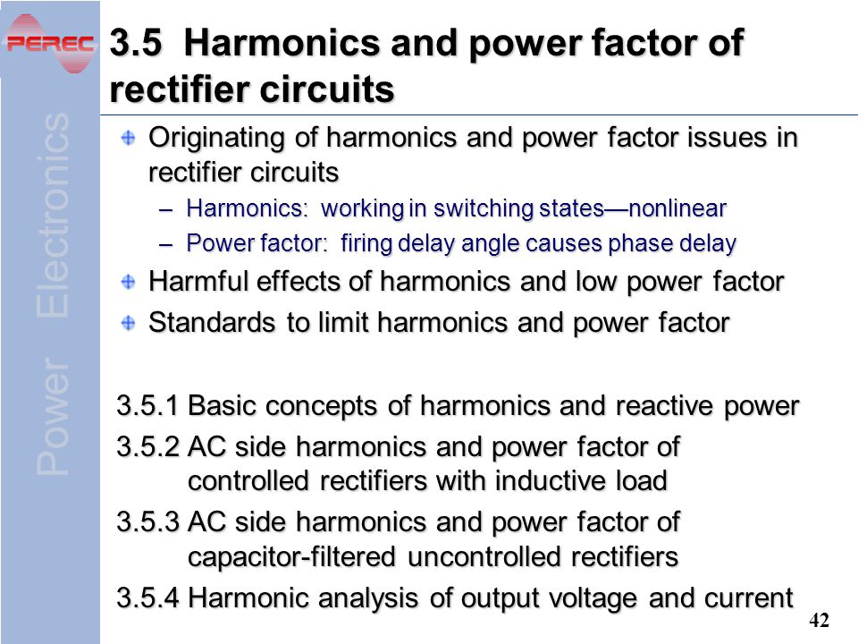 3.5 Harmonics and power factor of rectifier circuits