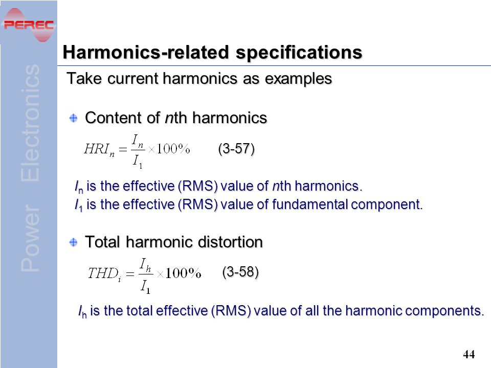 Harmonics-related specifications