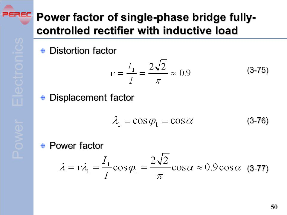 Power factor of single-phase bridge fully-controlled rectifier with inductive load