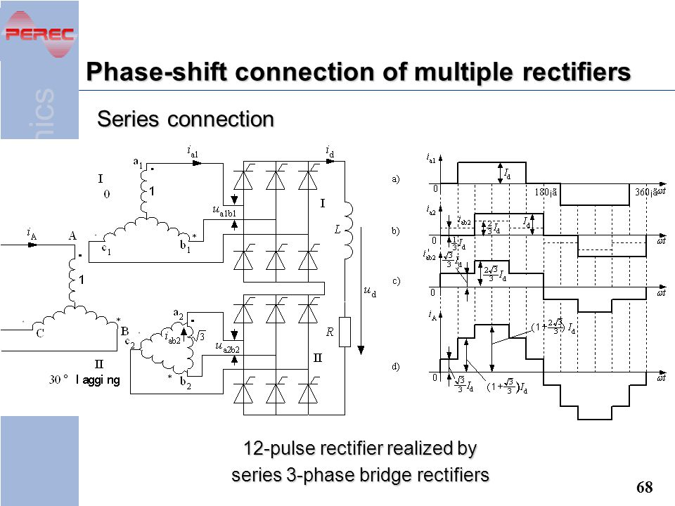 Phase-shift connection of multiple rectifiers