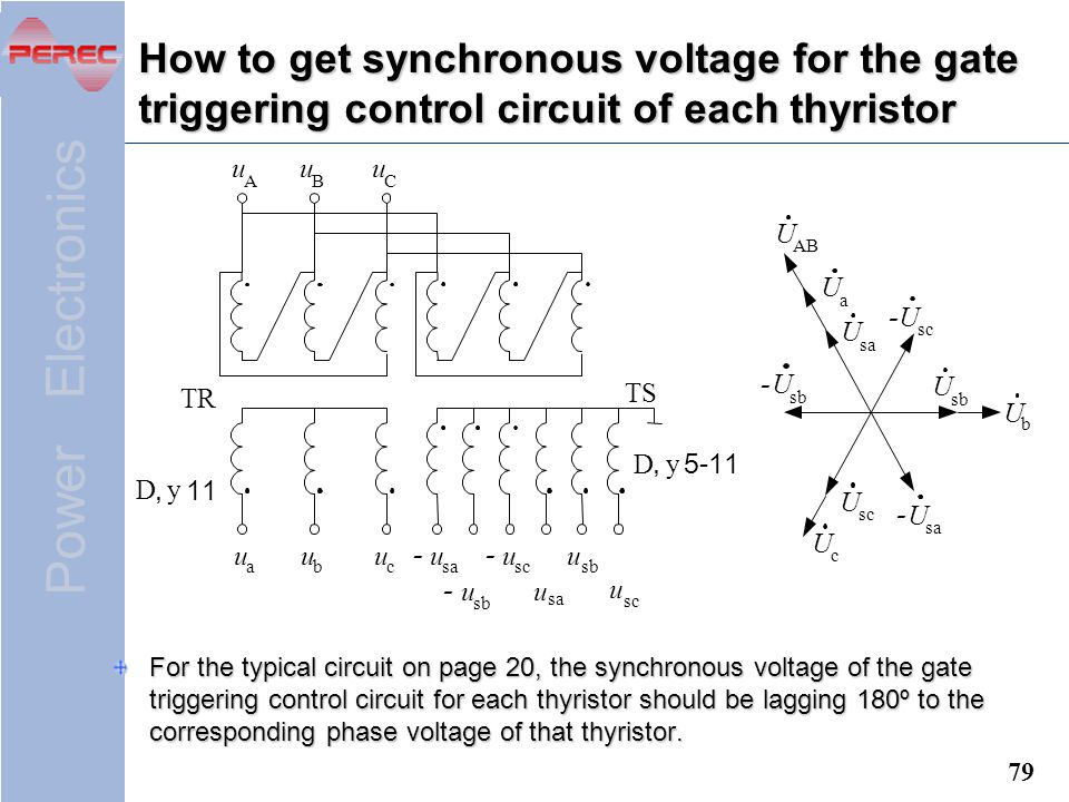How to get synchronous voltage for the gate triggering control circuit of each thyristor