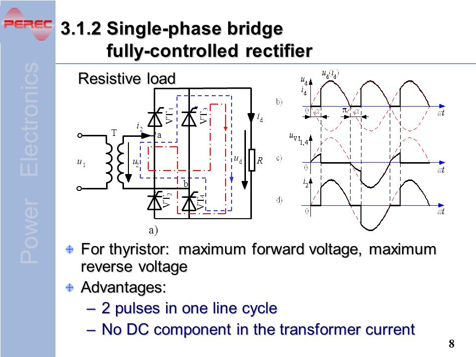 Single Phase Bridge Type Thyristor Rectifier Circuit