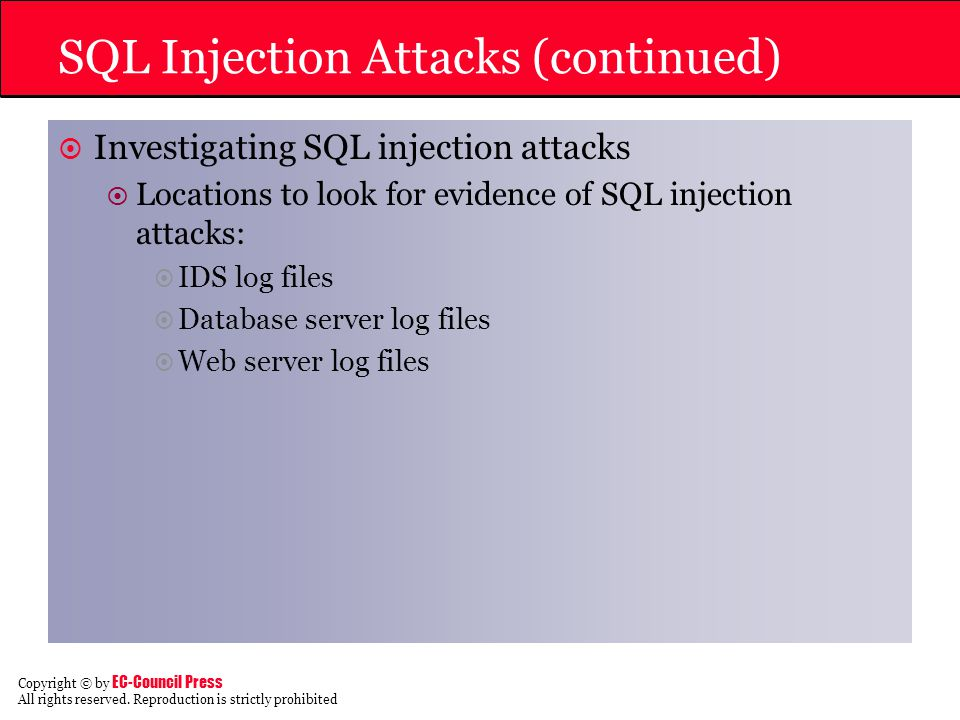 SQL Injection Attacks (continued)