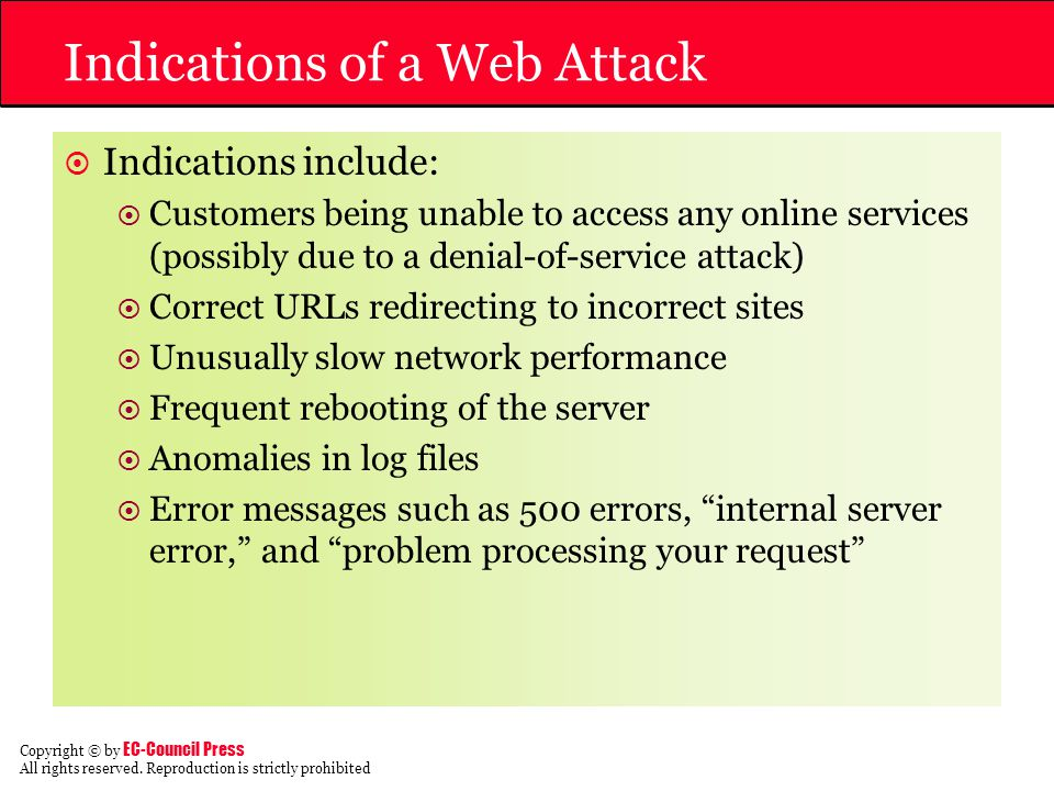 Indications of a Web Attack