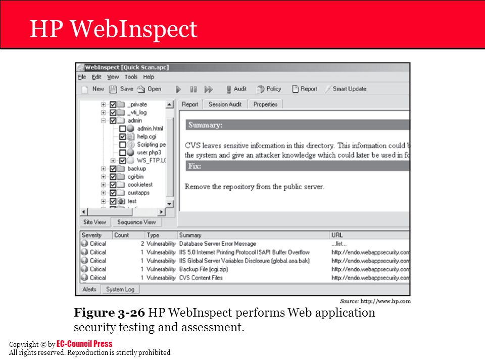 HP WebInspect Figure 3-26 HP WebInspect performs Web application security testing and assessment.