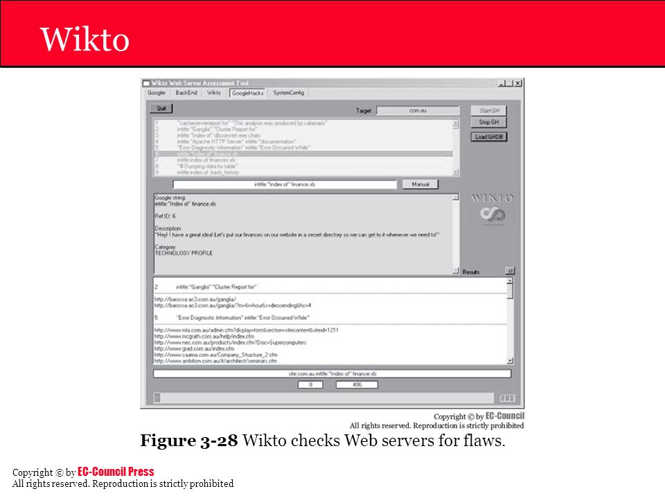 Wikto Figure 3-28 Wikto checks Web servers for flaws.