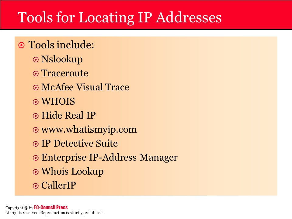 Tools for Locating IP Addresses
