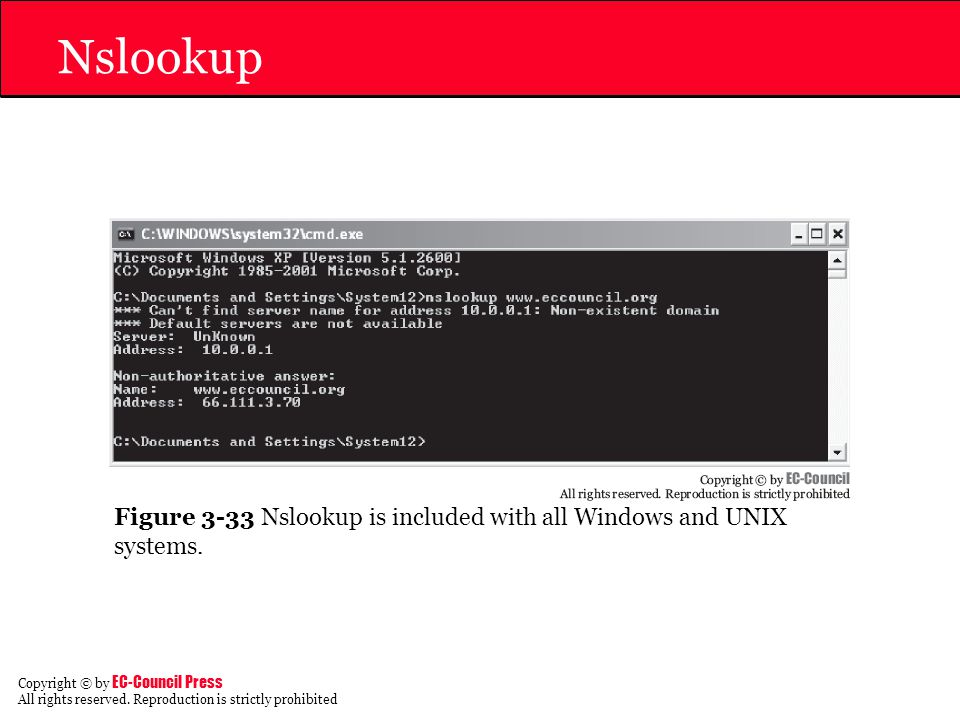 Nslookup Figure 3-33 Nslookup is included with all Windows and UNIX systems.