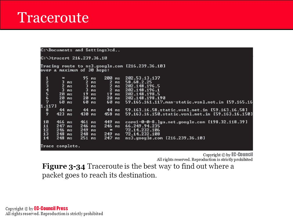 Traceroute Figure 3-34 Traceroute is the best way to find out where a packet goes to reach its destination.