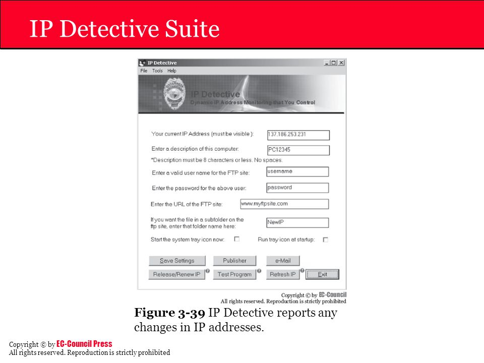 IP Detective Suite Figure 3-39 IP Detective reports any changes in IP addresses.