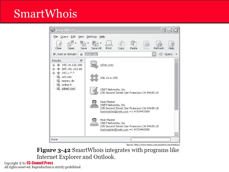 SmartWhois Figure 3-42 SmartWhois integrates with programs like Internet Explorer and Outlook.