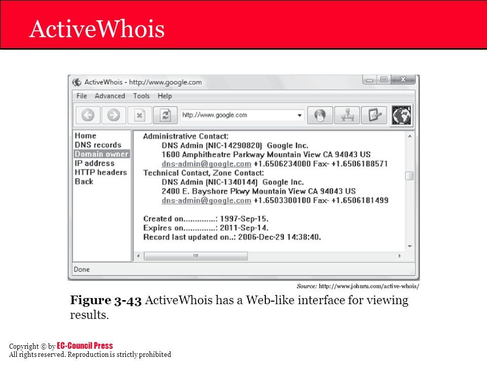 ActiveWhois Figure 3-43 ActiveWhois has a Web-like interface for viewing results.
