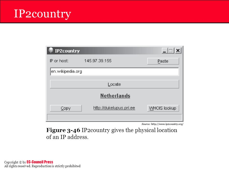 IP2country Figure 3-46 IP2country gives the physical location of an IP address.