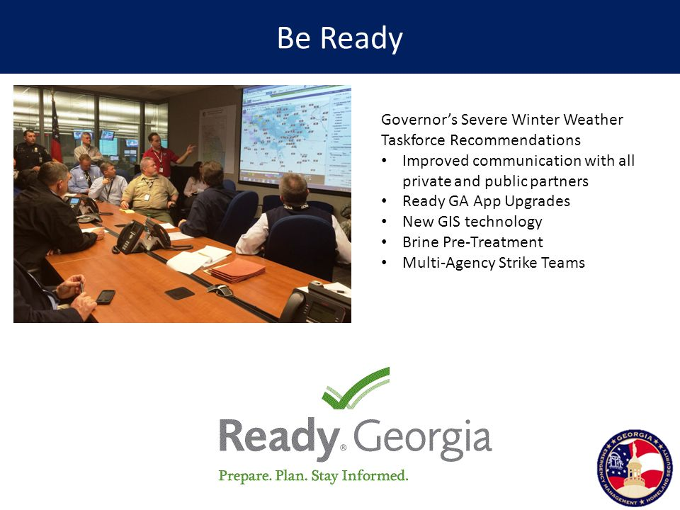 Be Ready Governor's Severe Winter Weather Taskforce Recommendations