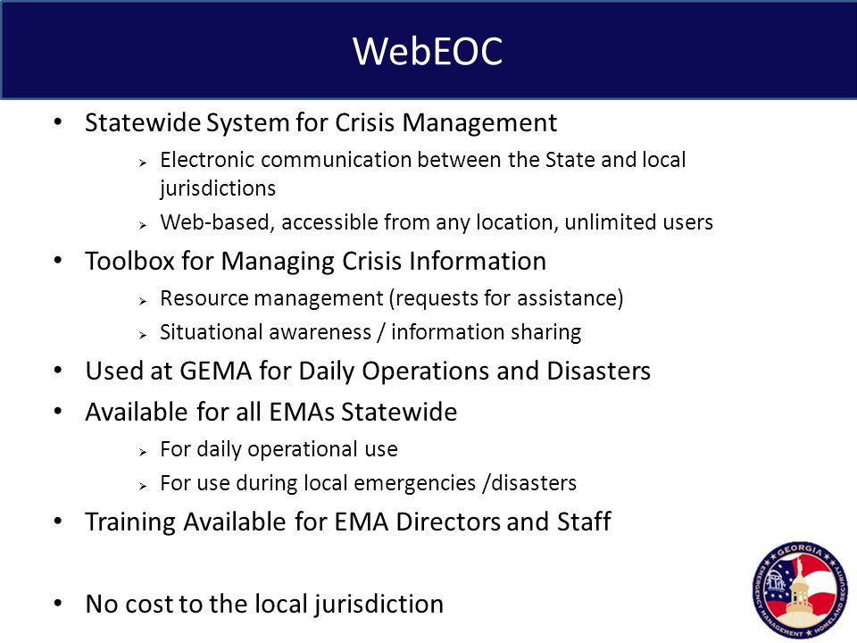 WebEOC Statewide System for Crisis Management