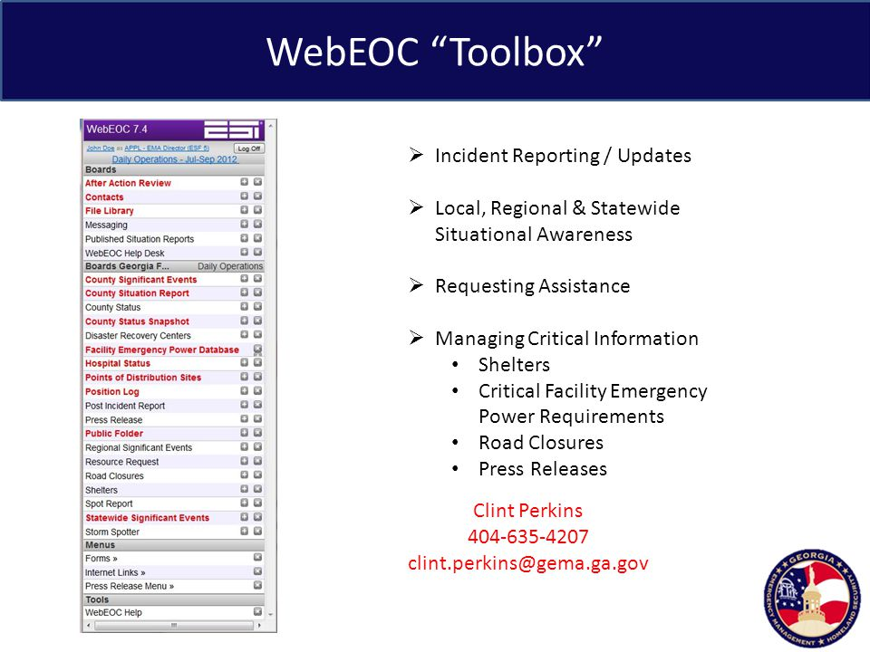 WebEOC Toolbox Incident Reporting / Updates