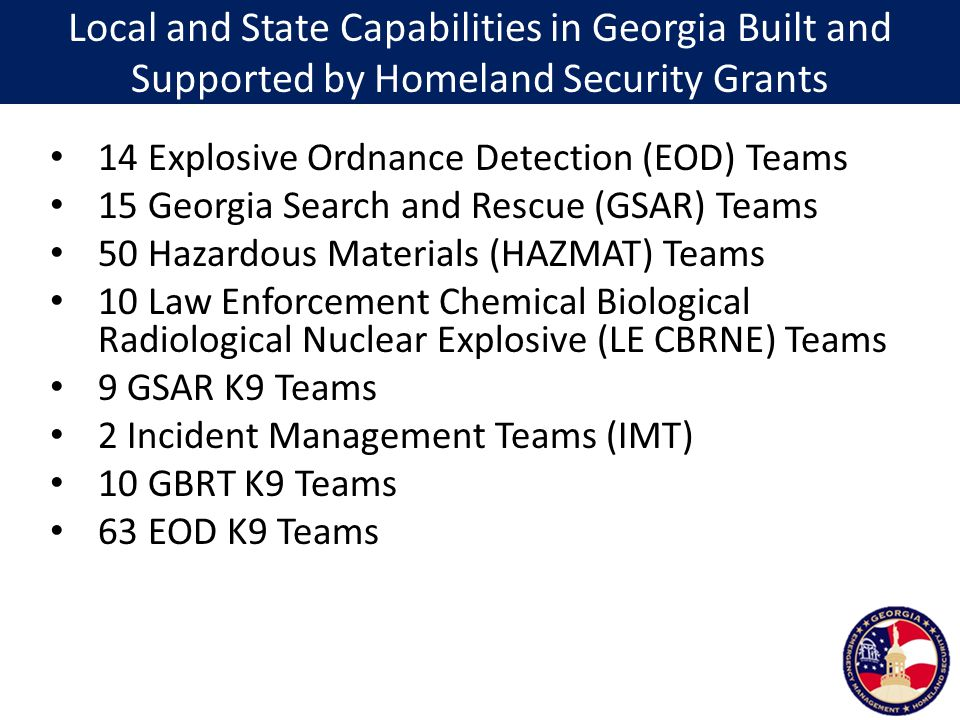 Local and State Capabilities in Georgia Built and Supported by Homeland Security Grants