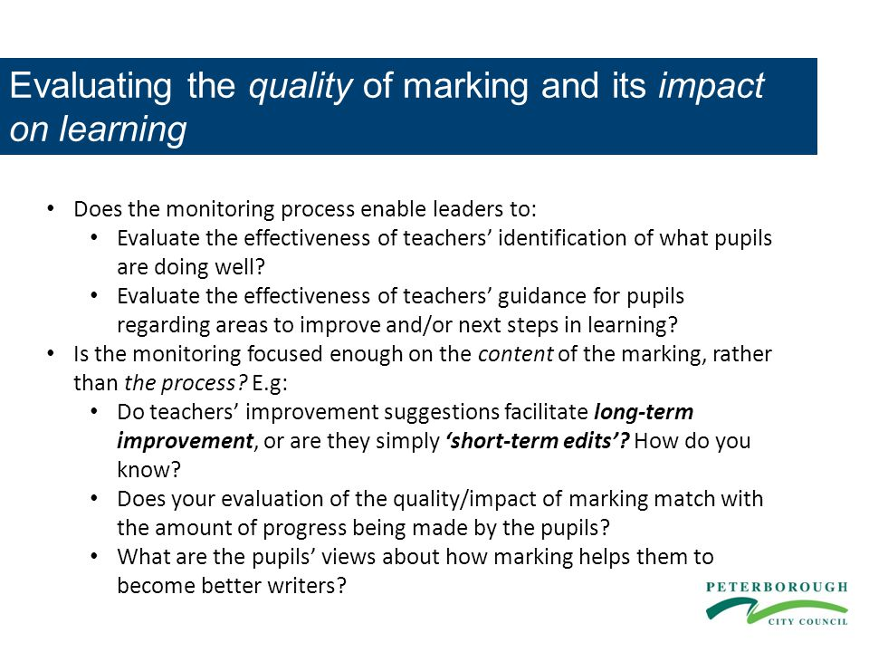 Evaluating the quality of marking and its impact on learning