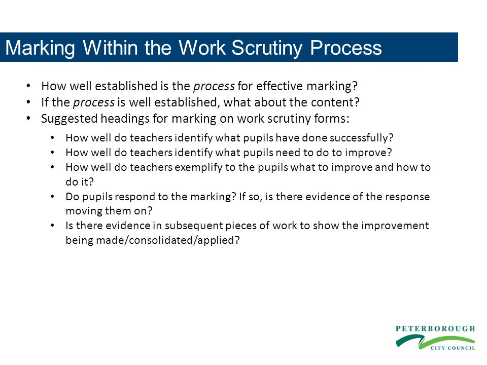 Marking Within the Work Scrutiny Process