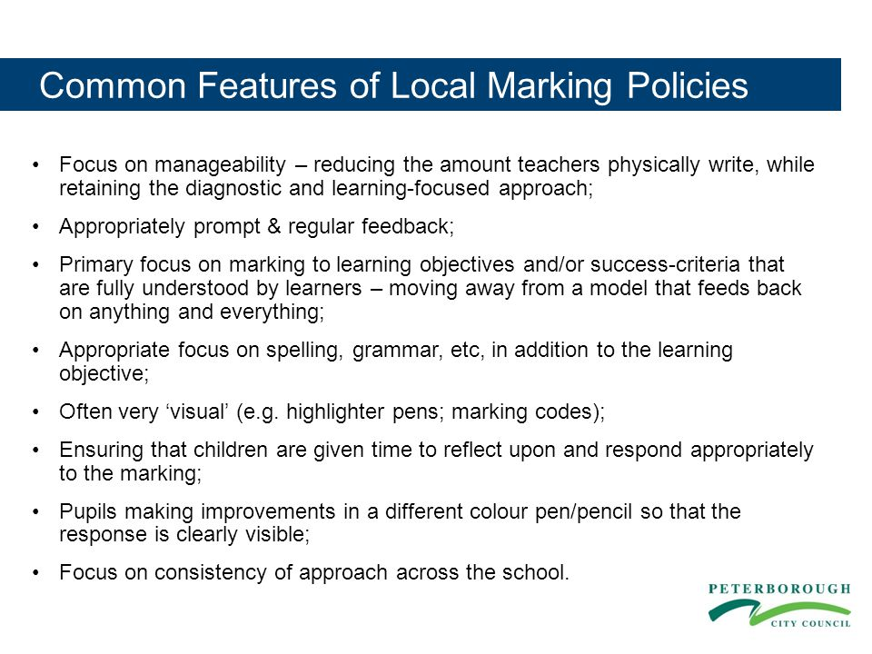 Common Features of Local Marking Policies