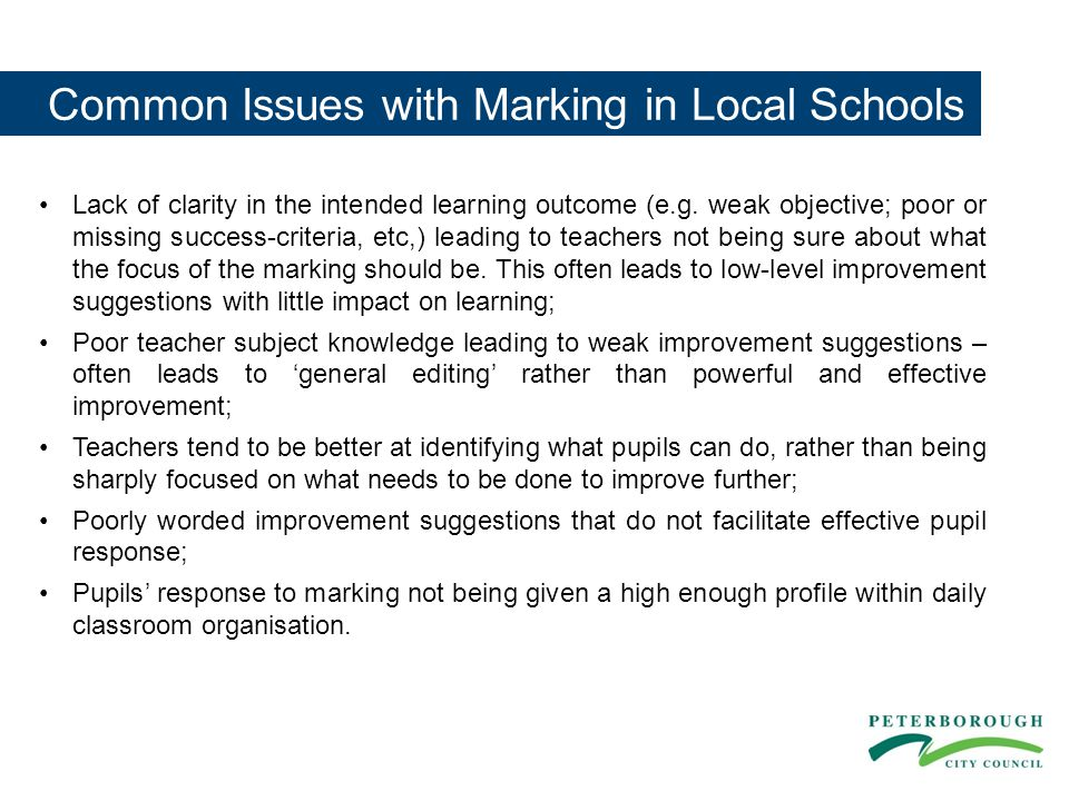 Common Issues with Marking in Local Schools