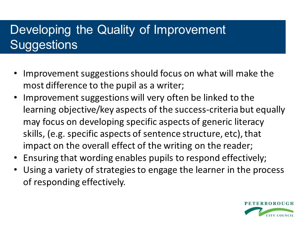 Developing the Quality of Improvement Suggestions