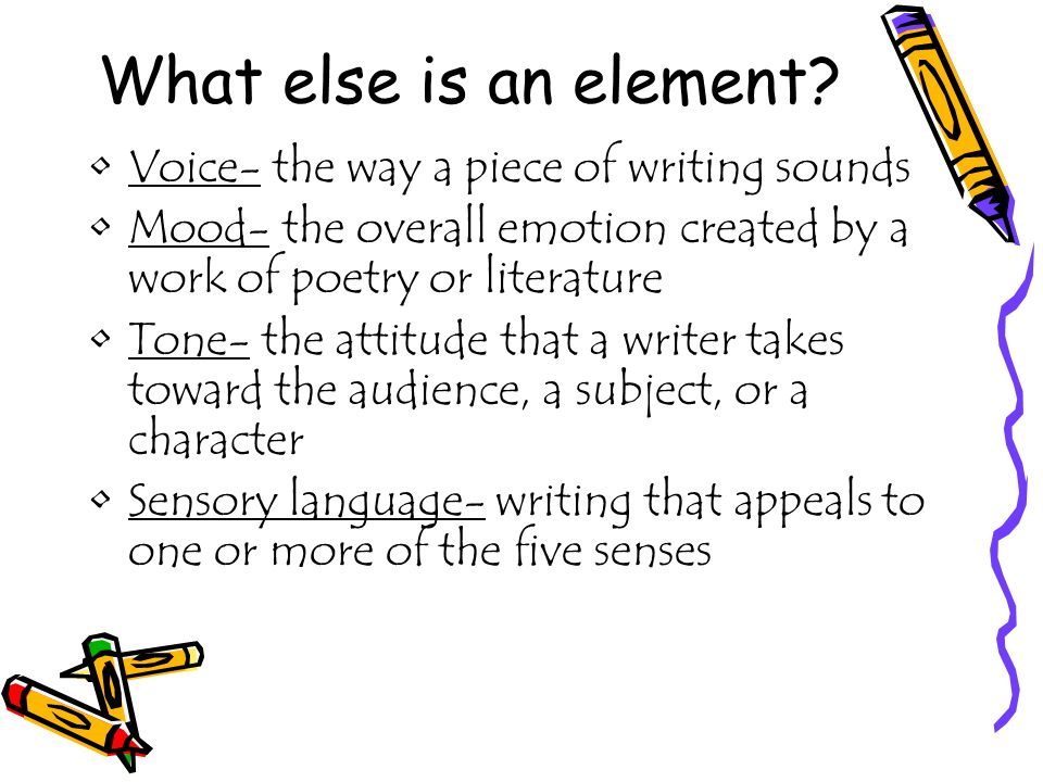 What else is an element Voice- the way a piece of writing sounds