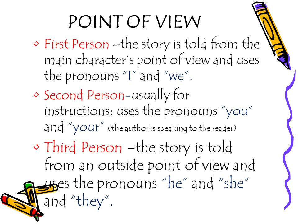 POINT OF VIEW First Person –the story is told from the main character's point of view and uses the pronouns I and we .