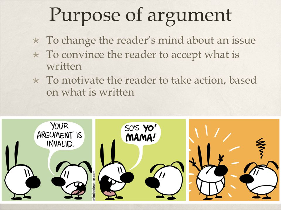 Purpose of argument To change the reader's mind about an issue