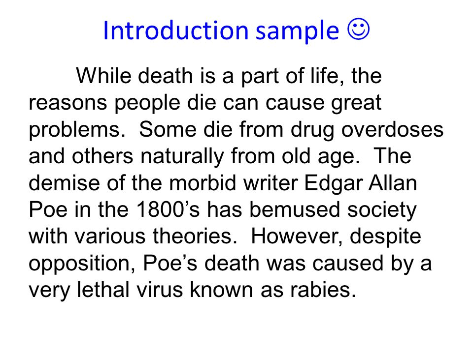 Edgar Allan Poes Death Persuasive Essay Feedback  Ppt Download  Introduction Sample