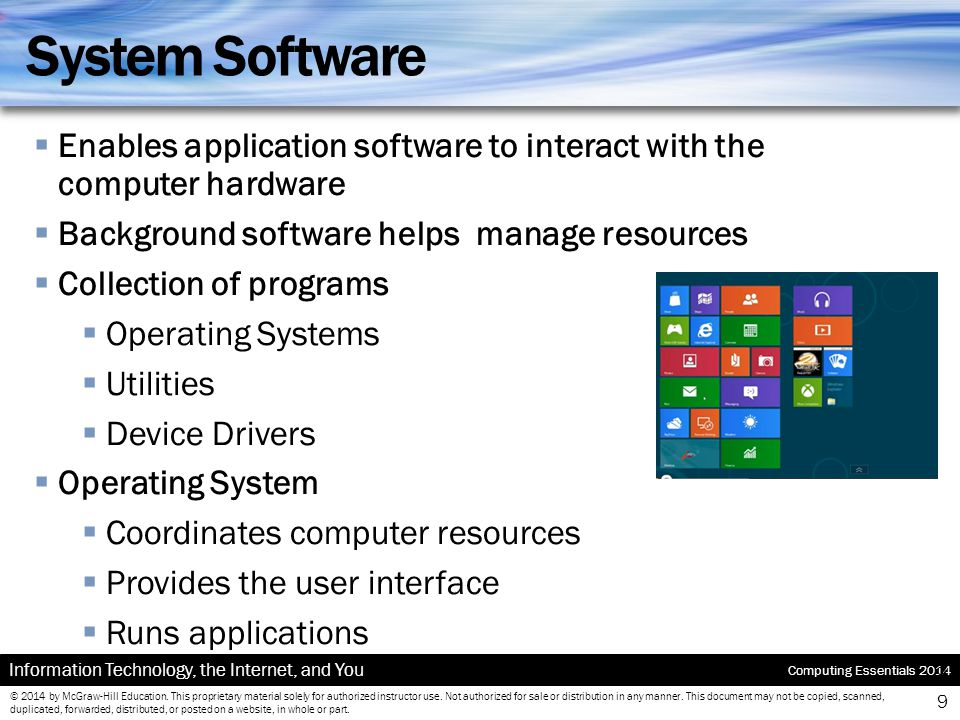 System Software Enables application software to interact with the computer hardware. Background software helps manage resources.