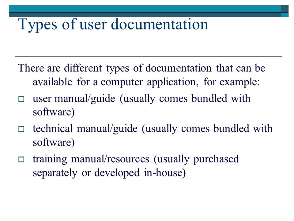 create user documentation