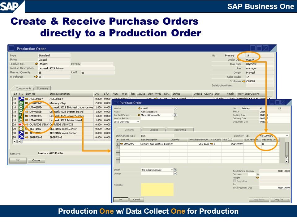 Create & Receive Purchase Orders directly to a Production Order
