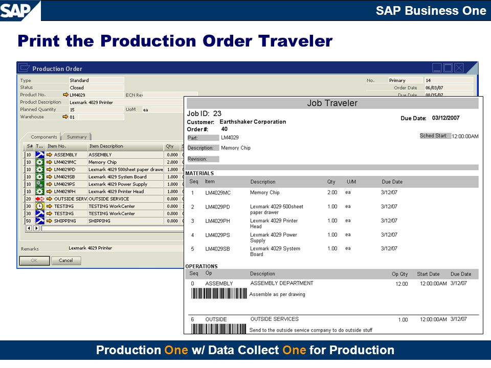 Print the Production Order Traveler