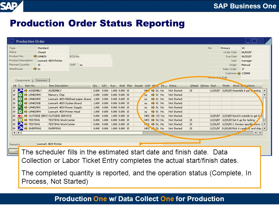 Production Order Status Reporting