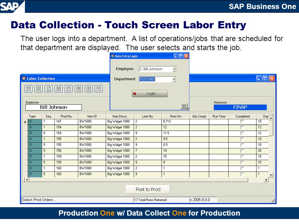 Data Collection - Touch Screen Labor Entry